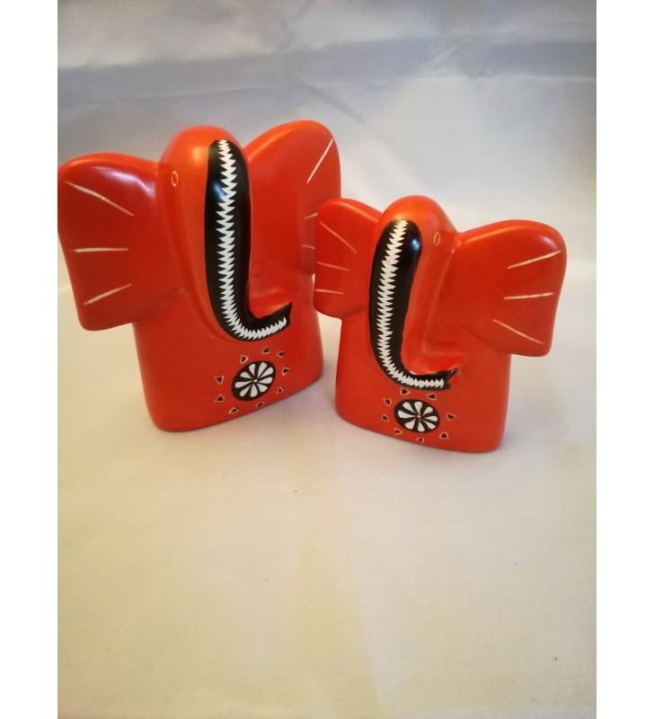 Tabaka Chigware Kisii Soapstone Whimsical Hand Dyed Set Of Two Orange Elephant Sculptures