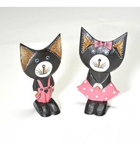 Set of Two Fair Trade Wooden Hand Painted Comical Cat Statues.