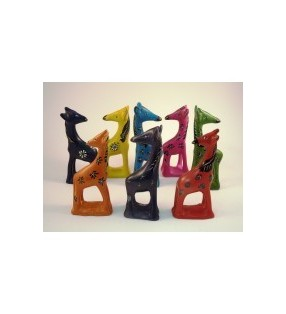 Tabaka Chigware Hand Carved Painted Kisii Soapstone Hand Dyed Bright Giraffe