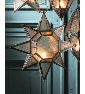 Large Moroccan Style Hanging Star Glass Lantern Tea Light Holder