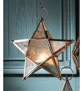 Fair Trade Moroccan Style Hanging Star Glass Lantern Tea Light Holder