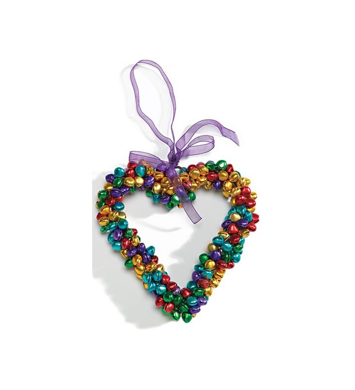Large Fair Trade Multi Color Hanging Bell Heart Decoration