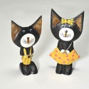Set of Two Comical Cat Statues.