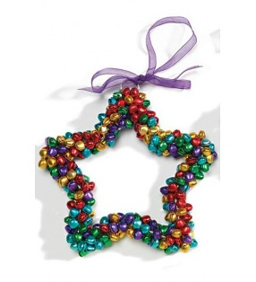 Large Fair Trade Multi Color Hanging Bell Star Decoration