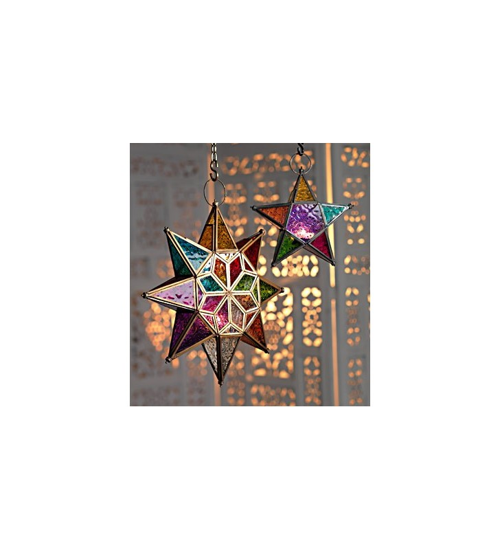 Large Moroccan Style Hanging Star Multi Color Glass Lantern Tea Light Holder