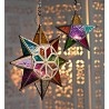 Large Moroccan Style Hanging Star Multi Color Glass Lantern
