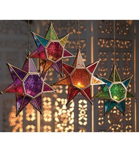 Moroccan Style Hanging Star Colored Glass Lantern Tea Light Holder