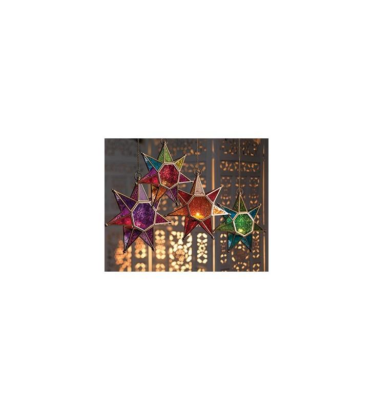 Moroccan Style Hanging Star Colored  Glass Lantern Tea Light Holder