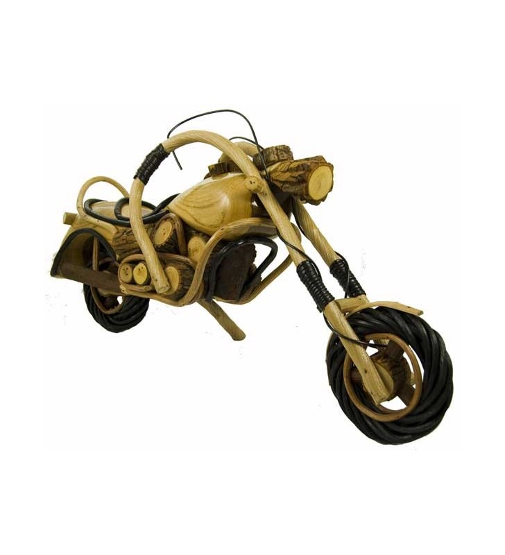 Large Fair Trade Wooden Bamboo Model Motorbike Motorcycle