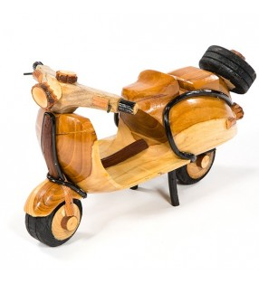 Large Fair Trade Wooden Bamboo Model Scooter Moped Vespa Lambretta