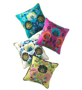 Beautiful Fair Trade alankaar cushion cover with crewel work embroidery
