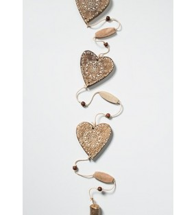 Fair Trade Decorated Wooden Heart Garland Burnt Finish